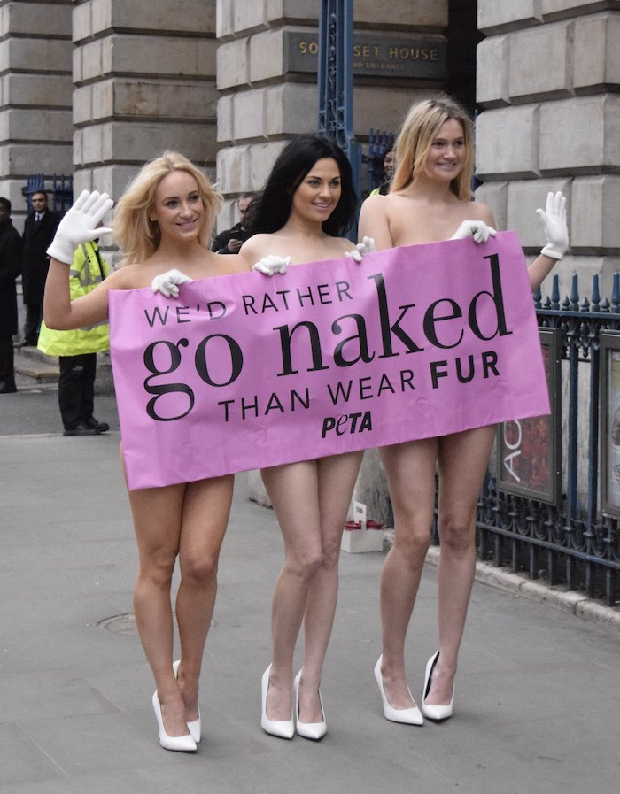"A picture of three young women walking along a road in London, past the doors of Somerset House, with a slogan ""We'd rather go naked than wear fur"" covering their breasts and private parts though their upper chests and most of their legs are exposed. They are wearing white gloves and high-heeled shoes."