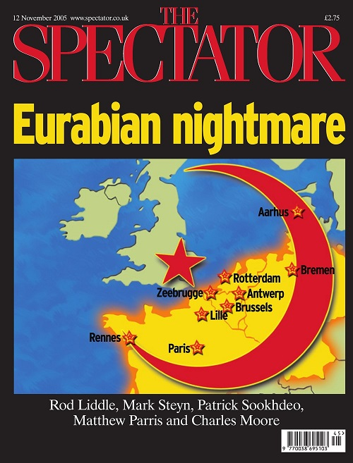 "A front page from the Spectator, with the headline ""Eurabian nightmare"" in yellow font, with a map of Europe with a red crescent superimposed on it with several large cities with small red stars, and a big red star where London is. At the bottom, in white, it says ""Rod Liddle, Mark Steyn, Patrick Sookhdeo, Matthew Parris and Charles Moore""."