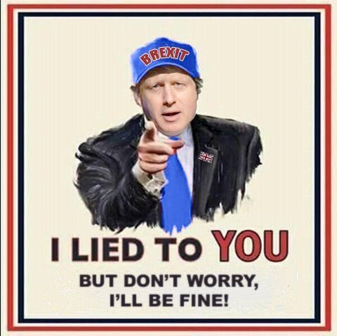"A cartoon showing Boris Johnson wearing a baseball cap with the word ""Brexit"" on it, and underneath, the words, ""I lied to YOU. But don't worry, I'll be fine!""."