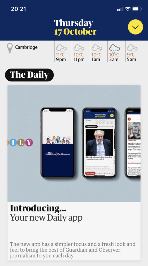 Screenshot from the Guardian's new Daily app on an iPhone.