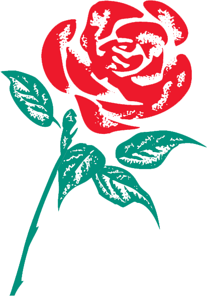A Labour party logo showing a red rose with a green stalk and leaves.