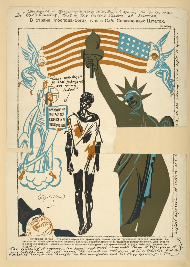 "A cartoon from a Russian magazine showing a Black man hanging from the Statue of Liberty. Two winged figures hold the US flag aloft above it and a book shows a Russian translation of ""come unto me, ye that labor and are heavy laden""."