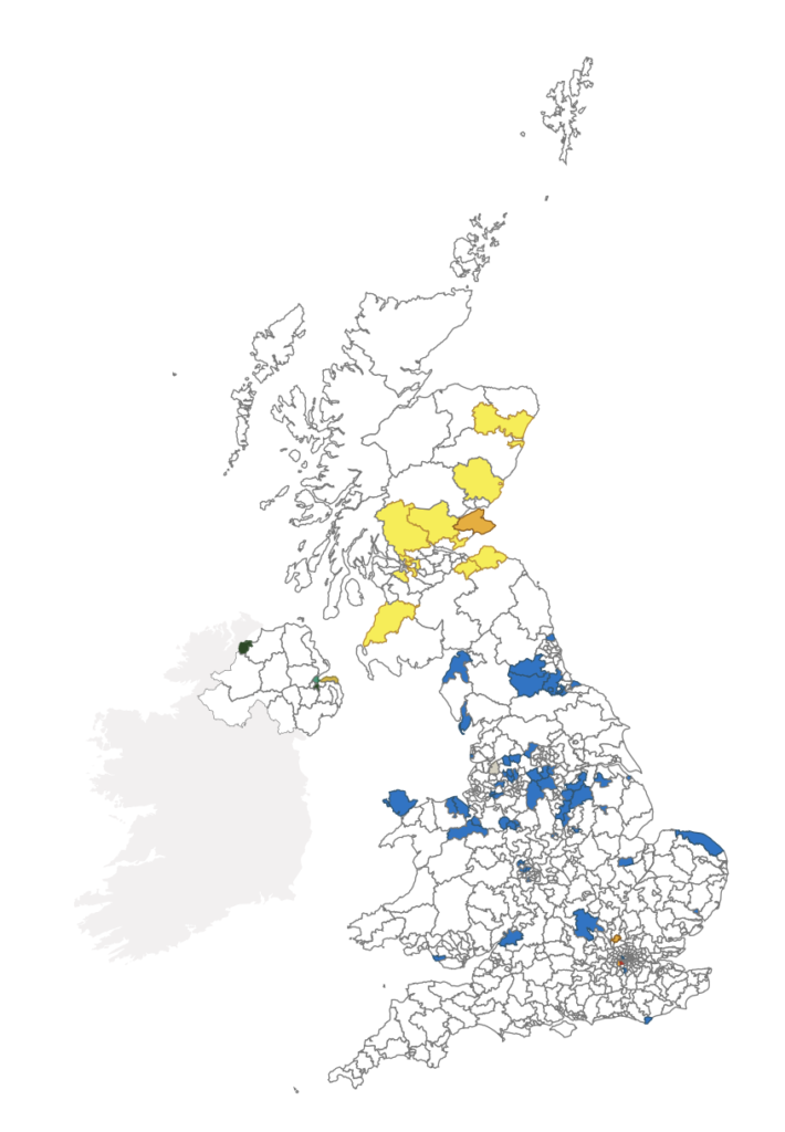 A map showing the seats which changed hands in the 2019 general election.