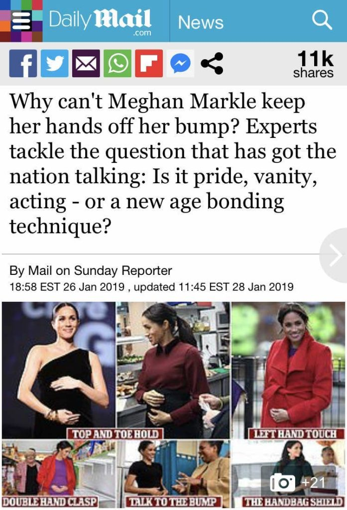 """A screenshot of a Daily Mail story featuring pictures of Meghan Markle with her hand under her baby bump, headlined """"Why can't Meghan Markle keep her hands off her bump? Experts tackle the question that has got the nation talking: is it pride, vanity, acting -- or a new age bonding technique?""""."""