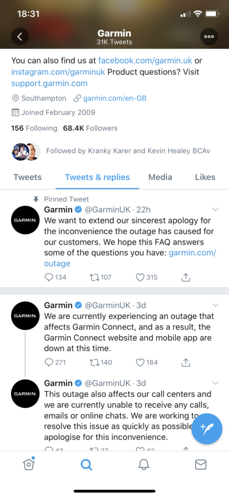 A screenshot of Garmin's (@GarminUK) Twitter feed, which contains information and apology about the recent outage but no explanation about its origin or how long it might take to fix.