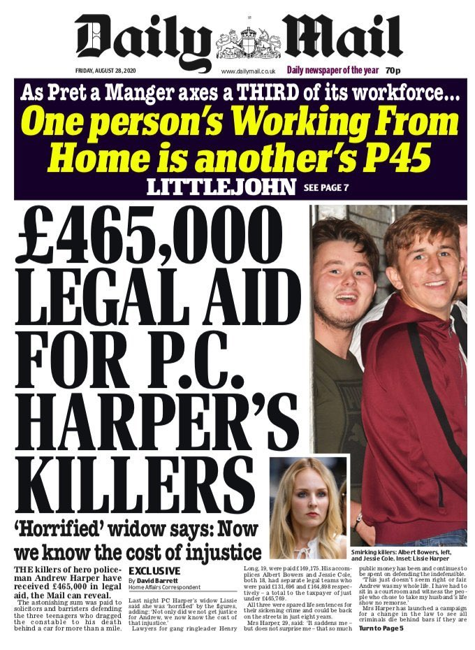 "Front page of the Daily Mail bearing the headline ""£465,000 legal aid for PC Harper's killers: 'Horrified' widow says: Now we know the cost of injustice"