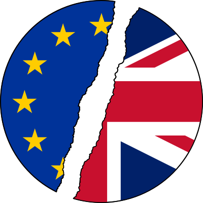 A circle consisting of the EU and Union (British) flags with a strip between them as if they have been torn apart.
