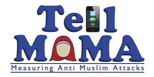 "The original logo for Tell MAMA, consisting of the words in large serif font with an old iPhone replacing an 'L' and a red hijab (around a blank face) replacing an 'A'. Underneath are the words ""Measuring Anti Muslim Attacks""."