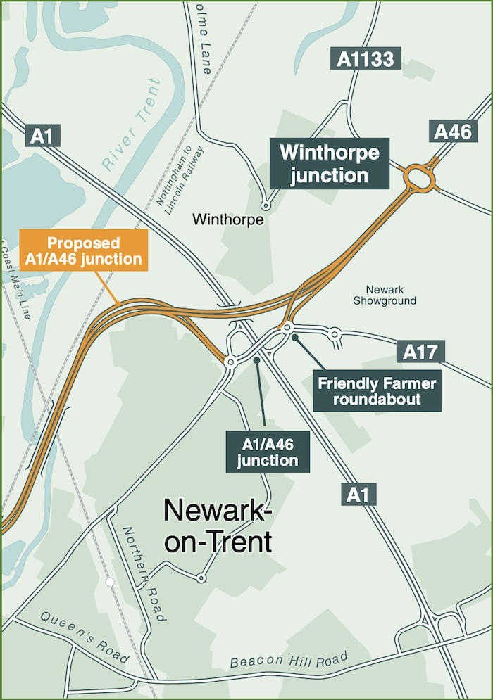 A map showing an improved dual carriageway going south-west to north-east across an unchanged dual carriageway running south-east to north-west outside Newark on Trent, with an inadequate junction connecting them.