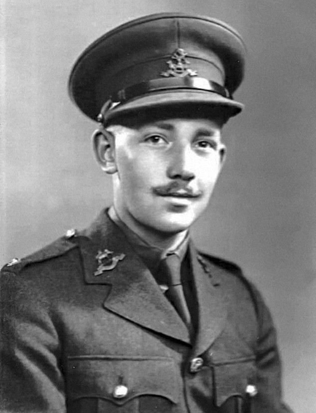 Black and white picture of a young Tom Moore, a white man with a moustache wearing a British army officer's uniform.