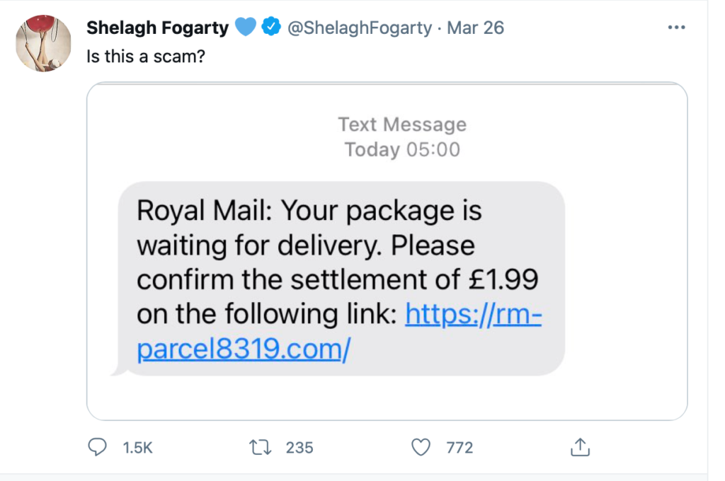 """. Fogarty asks in the tweet ""Is this a scam?""."