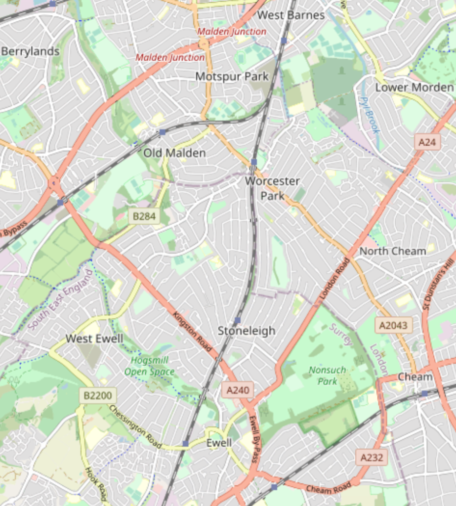 A map of an area of south-west London, showing the border between the London area and the neighbouring county of Surrey, which cuts through a number of residential areas with amenities on the London side.