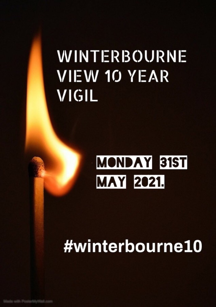 """An image of a lit match with the words """"Winterbourne View, 10 Year Vigil, Monday 31st May 2021. #winterbourne10"""" on a black background"""