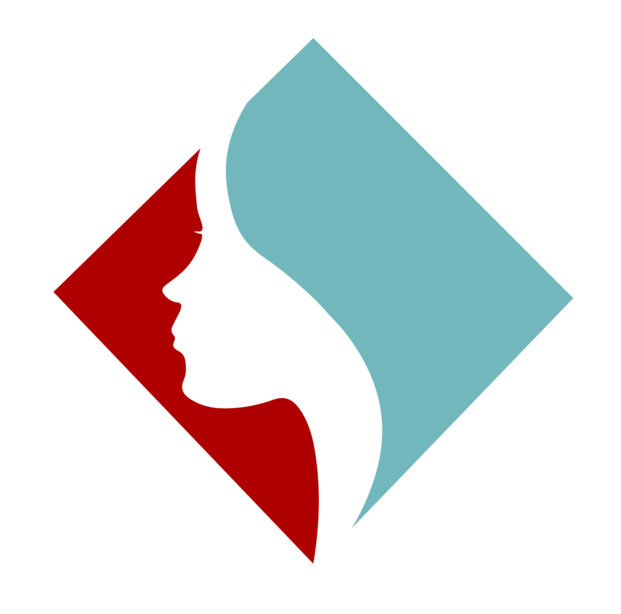 The logo of the organisation FACE (Facing Abuse in Community Environments), consisting of a red and light blue square, with a profile of a face dividing the two parts.